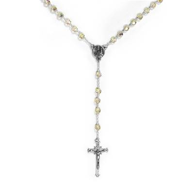Silver and Swarovski Crystal Rosary, translucent